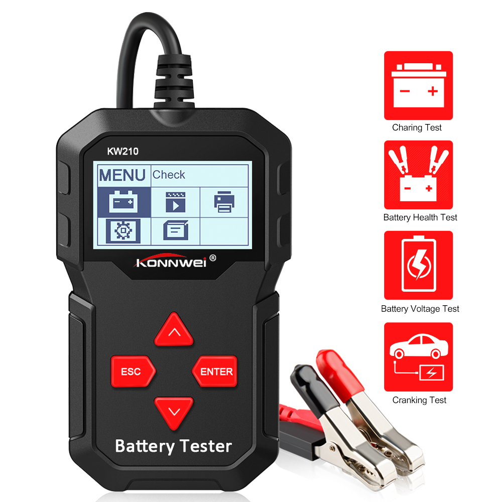 KONNWEI KW210 Car Battery Tester Automatic 12V 100 to 2000CCA Battery tools for the Car Quick Cranking Charging Diagnostic