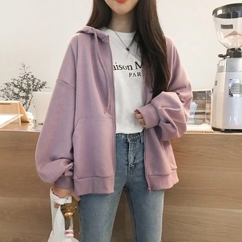 Fashion Women Hooded Sweatshirts Zipper Hoodies Long Sleeve Girl Pockets Winter Autumn Solid Color Coats Female new fashion women female korean short type long sleeve slim motor zipper leather jackets coats