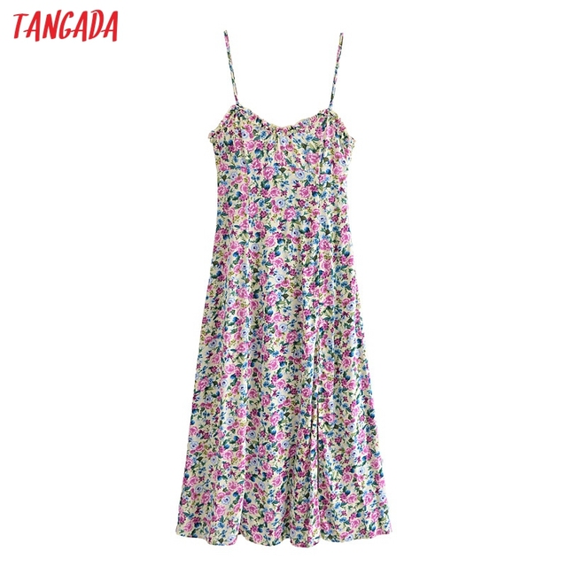 Tangada 2021 Fashion Women Flowers Print Back Lace Up Long Dress Sleeveless Backless Female Casual Dress 3H447 1
