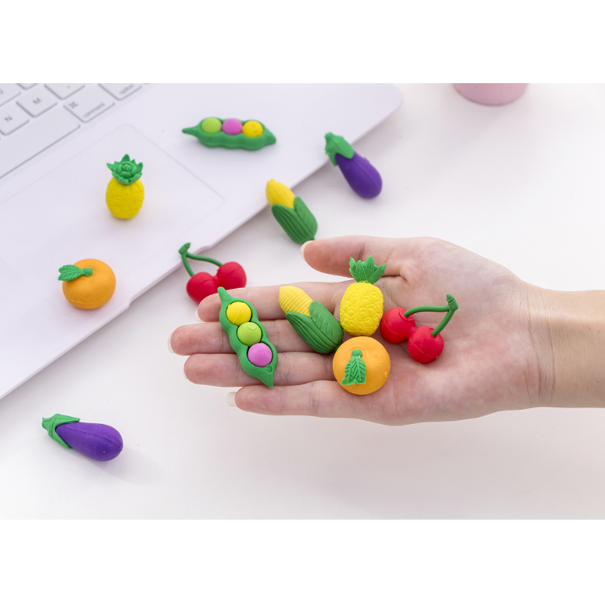 6pcs/set Creative Cute Fruit And Vegetable Pencil Students Learning Office Stationery School Eraser Sets