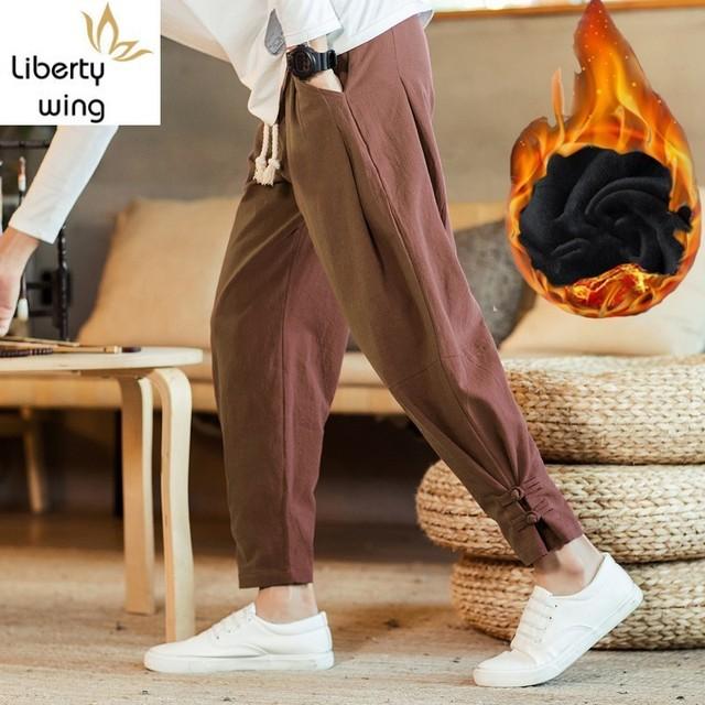 New Brand Man Clothes 2020 Autumn Male Trousers Loose Cotton Joggers Track Casual Sweatpants Winter Men Plus Velvet Pants 2