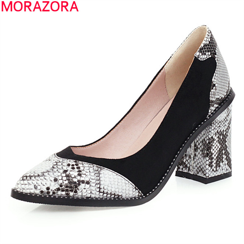 MORAZORA Big Size 33-47 2020 Fashion High Heels Shoes Summer Shallow Pointed Toe Ladies Party Shoes 4 Colors Classic Women Pumps