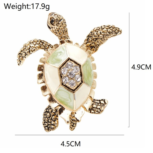 CINDY XIANG-broches de diamantes de imitación de tortuga para mujer, Pin de esmalte Vintage, accesorios de Pin de Animal de moda, joyería creativa 2