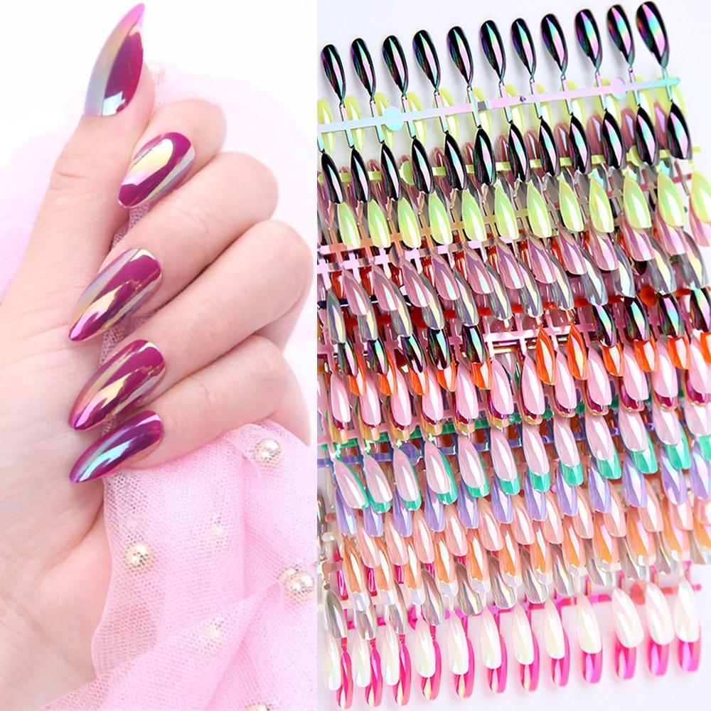 Модный гроб, блестящие металлические накладные ногти, 24 шт., полное покрытие, шпилька, гроб, искусственные ногти, ABS, искусственные ногти, украшения для дизайна ногтей
