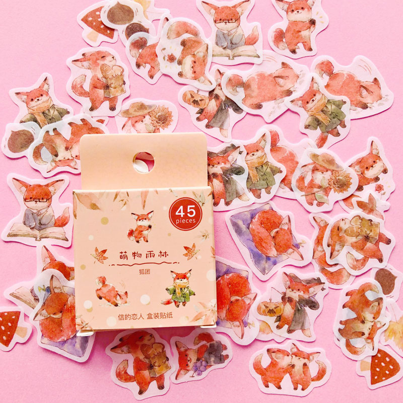 45 PCS/Box Little Fox Washi Paper Sticker Adhesive Craft Stick Label Notebook Computer DIY Decor