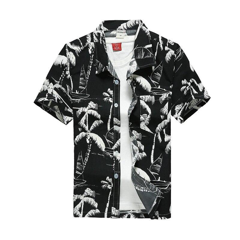 Beach Shirts Men Summer Vacation camisas para hombre Coconut tree Printed Short Sleeve Button Down Hawaiian shirts for Men M-5XL 2