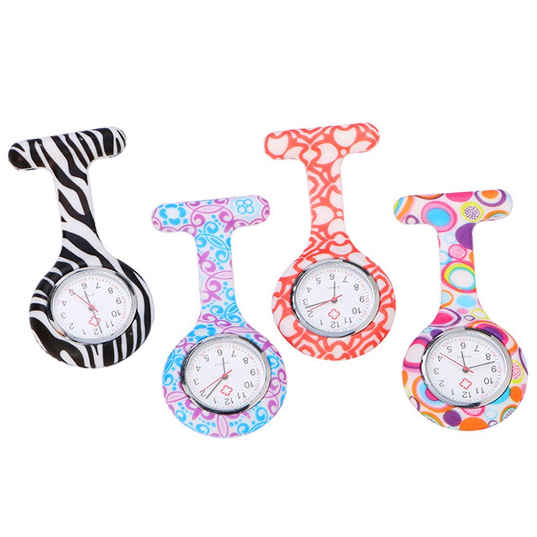 Silicone  Nurses  Watch Infection Control Hygienic Clip-on Pin Fob Brooch Pocket Watch For Women