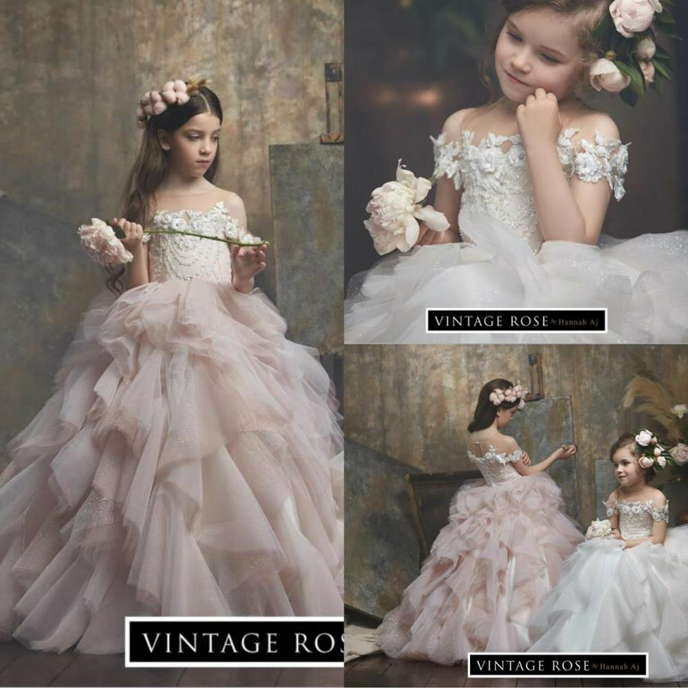 Blush Pink Flower Girl Dresses Lace Floral Appliqued Beaded Jewel Neck Kids Pageant Dress Little Gilrs First Communion Gowns