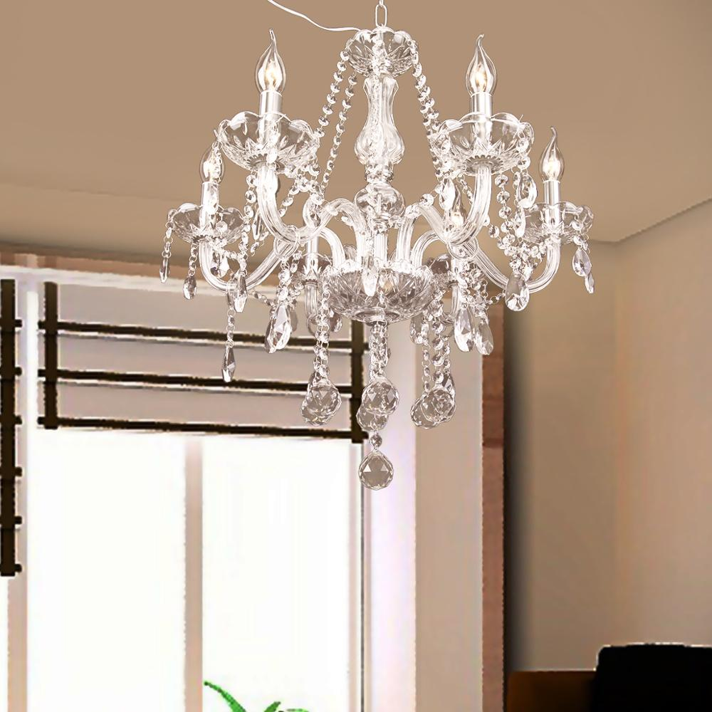 Modern Crystal Chandelier 6 Arms Pendabt Home Lights Candle Cristal Decoration Pendant Lamp Dining Room Living Room Indoor Lamp