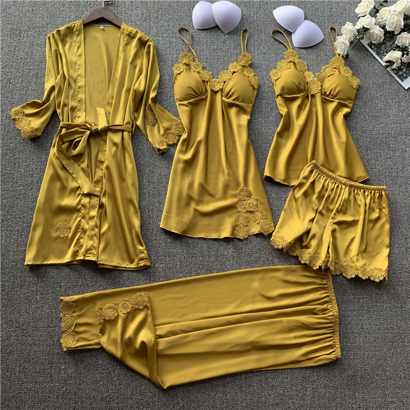 JULY'S SONG 5 Pieces Women Pajamas Sets  Elegant Sexy Lace  Faux Silk Sleepwear Sets Stain Spring Summer Autumn Robe Home Wear