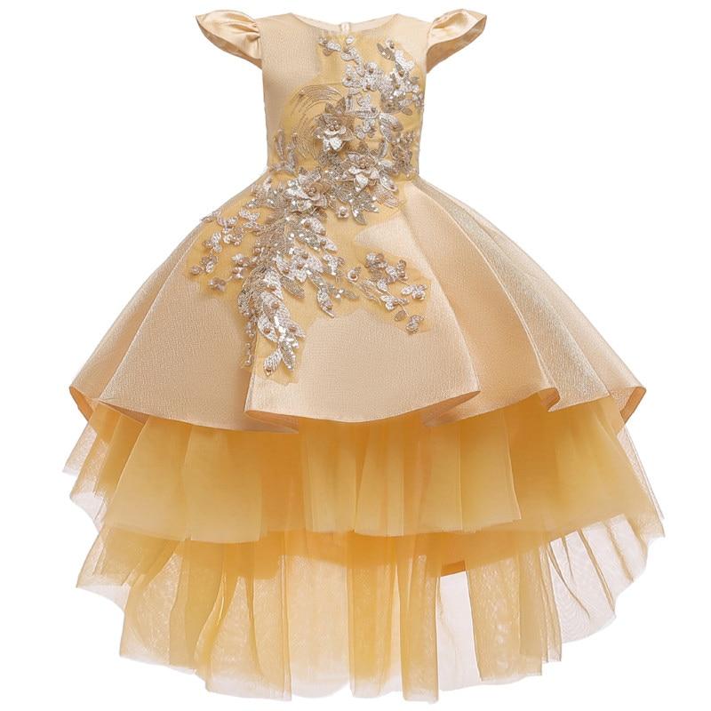 Girls Dress New Embroidery Flower Beading Princess Dress Children Party Dress