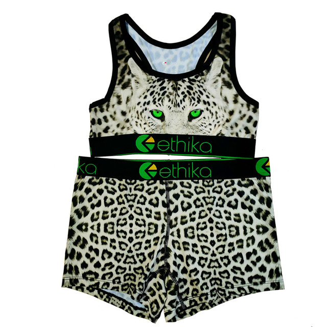 Ethika Women Set  2 Piece Leopard Sexy Crop Tops Tube Top Female Sleeveless Bra And Shorts Woman Sets Two Pieces Casual Outfits 4