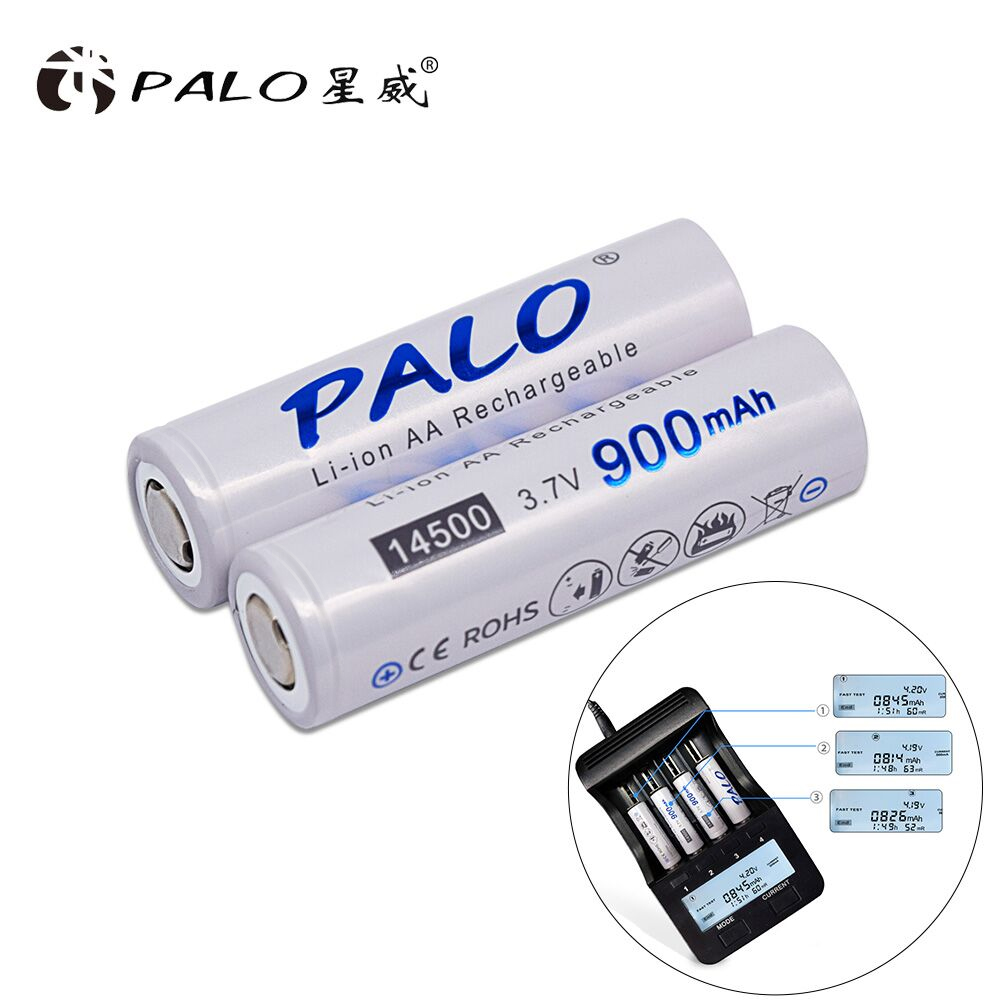 PALO 2pcs <font><b>14500</b></font> 900mAh 3.7V <font><b>Li</b></font>-<font><b>ion</b></font> Rechargeable <font><b>Batteries</b></font> AA <font><b>Battery</b></font> Lithium Cell for Led Flashlight Headlamps Torch Mouse image