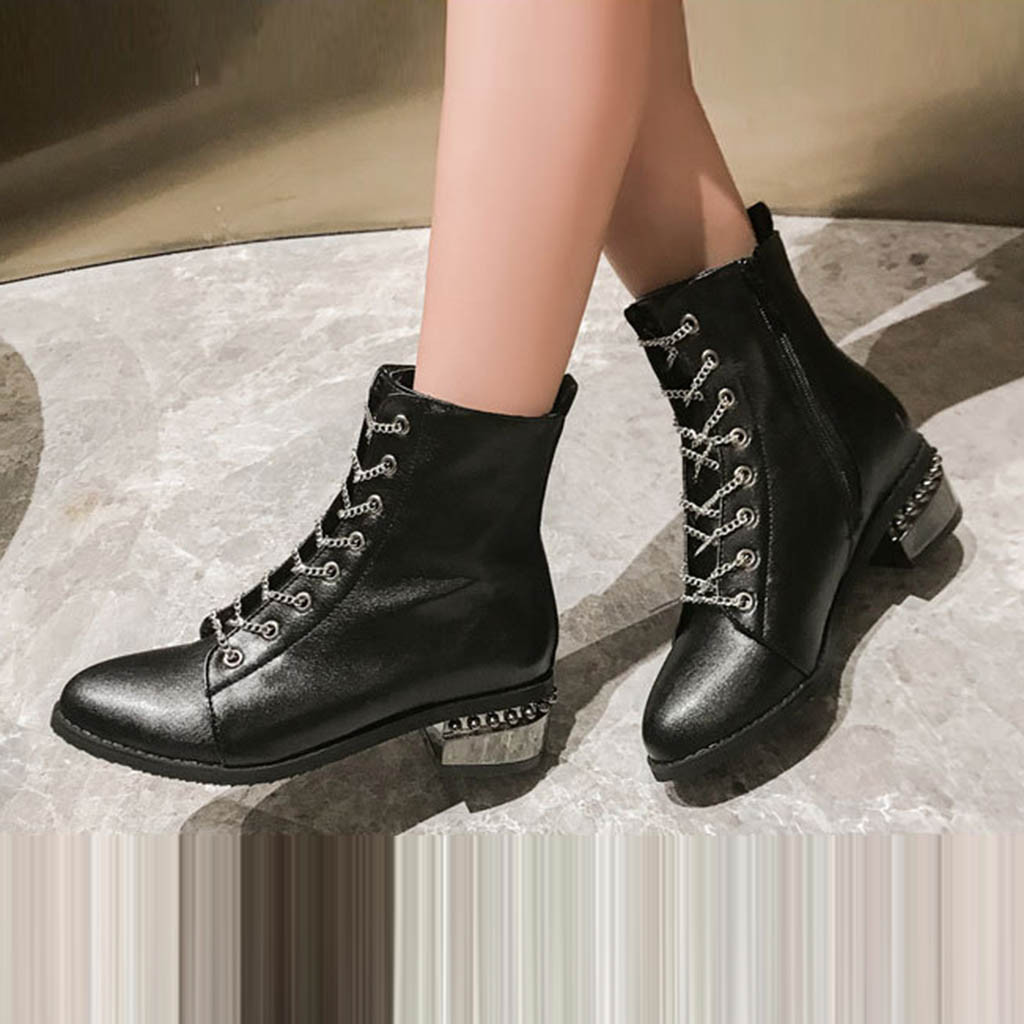 SAGACE Chunky Heels Shoes Platform Lace-Up Boots Women Round-Toe Vintage Woman 7 Casual
