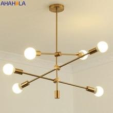 Lámpara de araña Industrial moderna Para cocina y Sala de estar, Lustres Para Sala de estar, nórdica, E27, Oro Negro, arañas LED