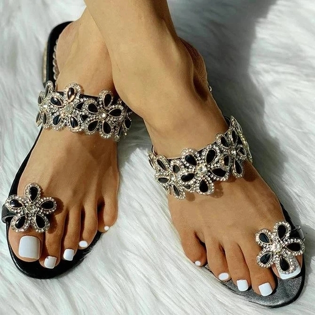 SHENGY Women Summer Slippers Fashion Casual New Crystal Solid Women Flower  Flats Shoes Outdoor Beach Ladies Plus Size Slippers