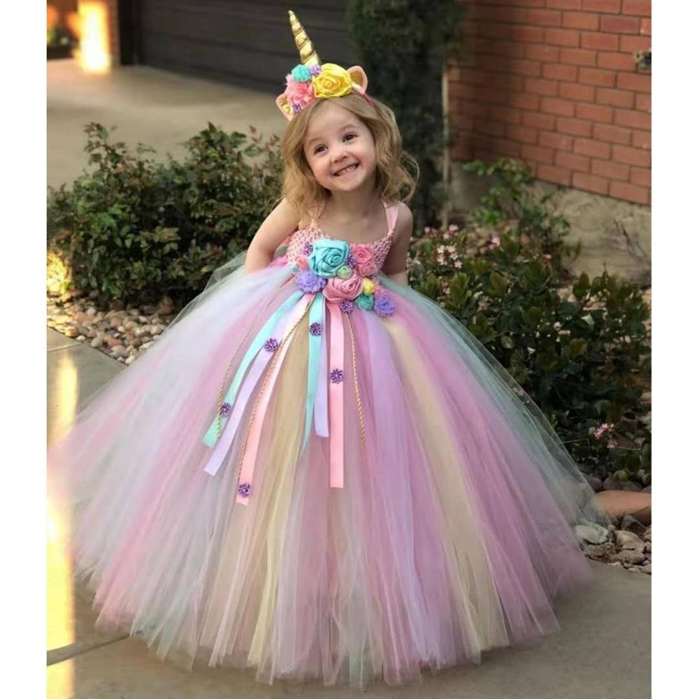 Lovely Girl Long Dress Unicorn Hair Band Flower Dress Princess, Birthday Party Dress, Evening Dress