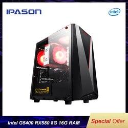IPASON A BUON MERCATO PC Gaming Intel 8th Gen G5400 RX560 4G 16G di RAM supporto DVI/HDMI/DP computer Desktop Per Il Gioco LOL/TOMB RAIDER/WOW