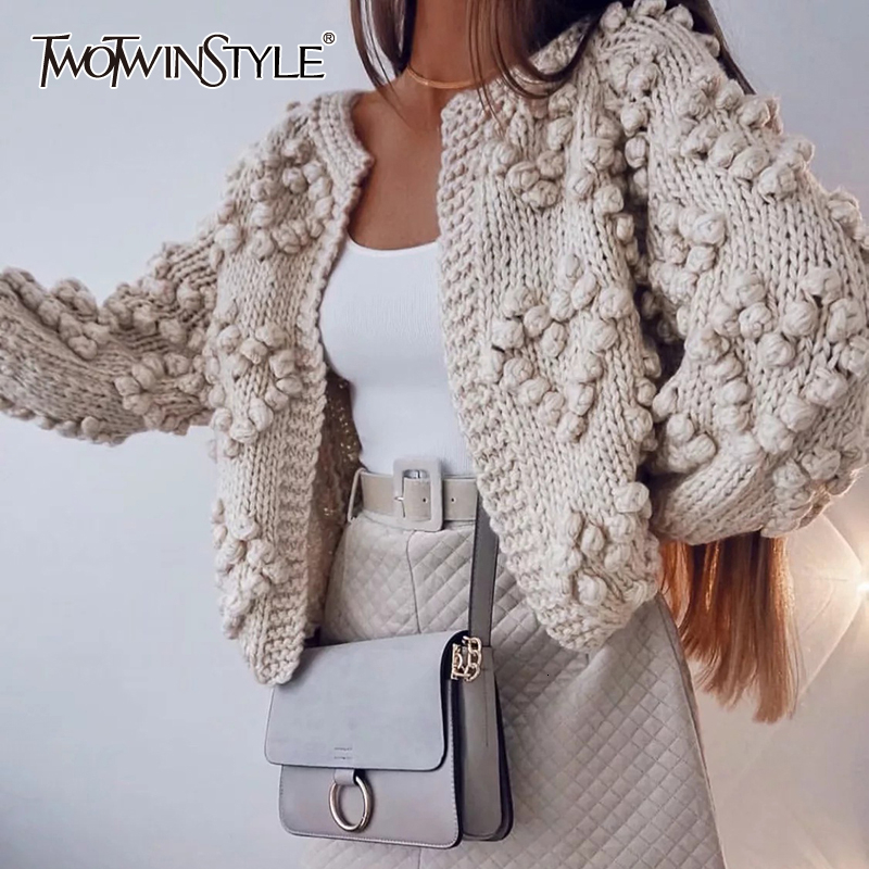 TWOTWINSTYLE Knitted Sweater For Women V Neck Long Sleeve Oversized Korean Cardigans Female Autumn Winter Fashion New 2020