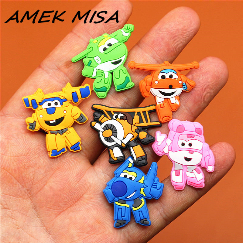 1pcs Cartoon Planes PVC Shoe Charms Accessories Fit For Shoes Bracelets Bands Croc JIBZ Shoe Buckle Ormaments Boys Gifts