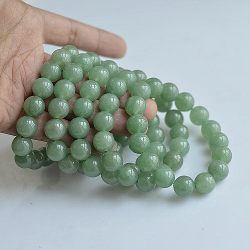 MOROW 100% Natural Green Aventurine Round Bead Stone Bracelet Jewelry Simple Women`s Men Bracelets Fashion Classic Accessory New (5)