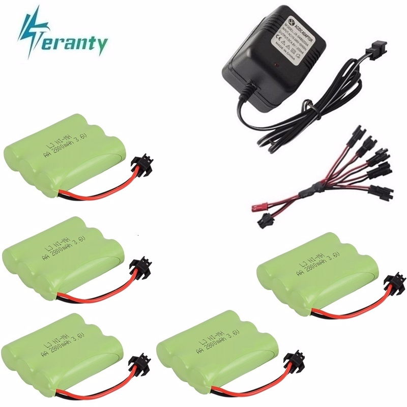 Upgrade 3.6v 2800mah NiMH Battery + Charger For Rc Toys Cars Tanks Trucks Robot Gun Boat AA Ni-MH 3.6v Rechargeable Battery Pack