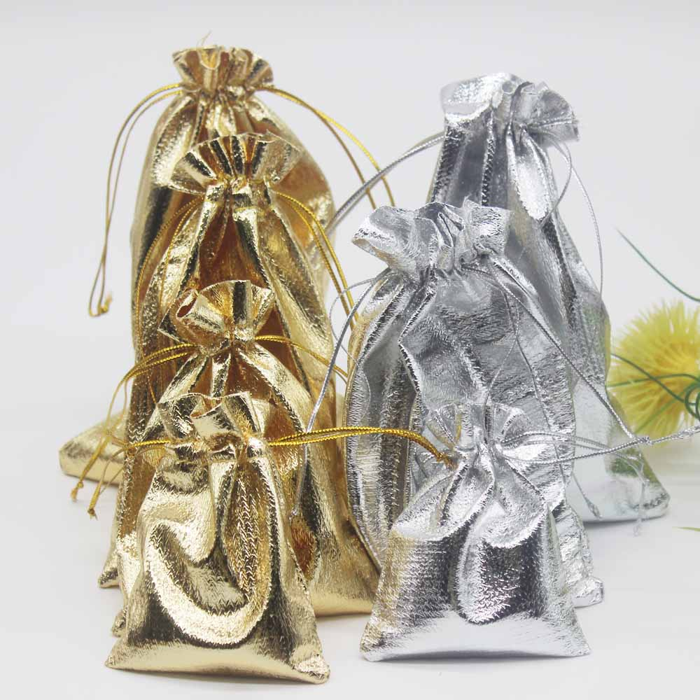 10pcs Golden/silver Bags Special Design Soft Smooth Jewelry Phone Delicate Strange Packaging Wedding Pouches7X9CM 9X12CM 11X16CM