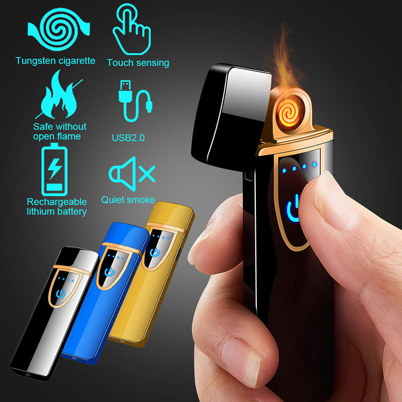 USB Rechargeable Electric Lighter Touchscreen Tungsten Windproof Flameless Ultra-thin Cigarette Slim Coil Lighter #5