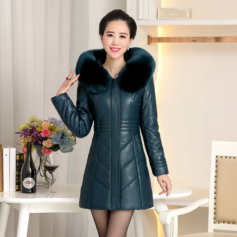 Большой размер 8XL 2019 зимняя куртка из искусственной кожи женские толстые теплые длинные парки с капюшоном и меховым воротником зимнее пальто женские парки - 5