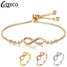 Cuteeco luxuoso cristal ajustável pulseira para mulher brilhante cz infinidade charme pulseiras jóias pulseira feminino