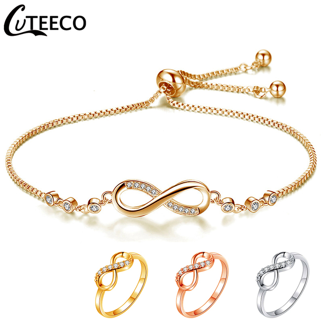 CUTEECO Luxurious Crystal Adjustable Bracelet Bangle for Women Brilliant CZ Infinity Charm Bracelets Jewelry Pulseira Feminia
