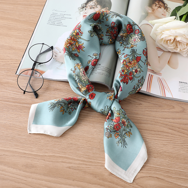 Fashion Floral Scarf Women Print Neck Wraps Foulard Hair Band Tie 70cm Square Lady Neckerchief Scarves Bandana Shawls Pashmina
