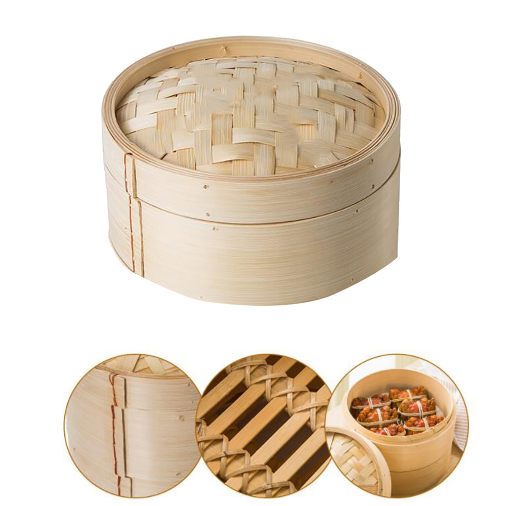 One Cage Lid Bamboo Steamer For Fish Vegetable Snack Basket Set Kitchen Cooking Tools Dumpling Steamer New