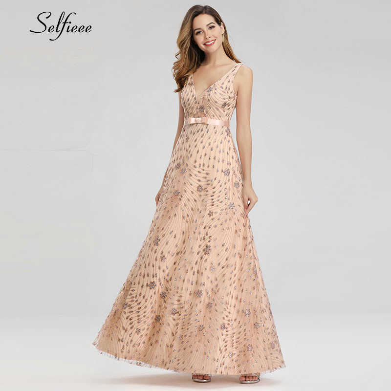 Sparkle Rose Gold Summer Dresses A-Line V-Neck Sleeveless Bow Sashes Sexy Maxi Dresses Woman Party Night Gowns Robe Femme 2019