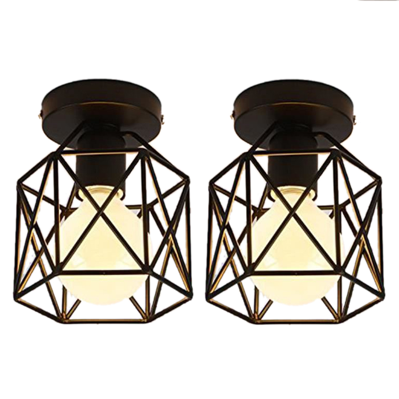 2 Pcs Ceiling Light Industrial Square Cage Metal Iron Retro Chandelier Suspension Light Fixture For Hallway, Entrance, Driveway,