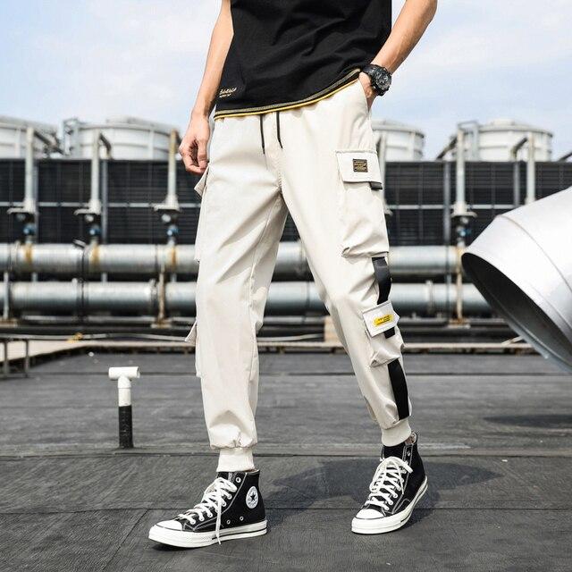 Pantalones Cargo de harén con bolsillos laterales para hombre, pantalón negro de Hip-Hop, informal, a la moda, ropa de calle, 2020 cintas 6