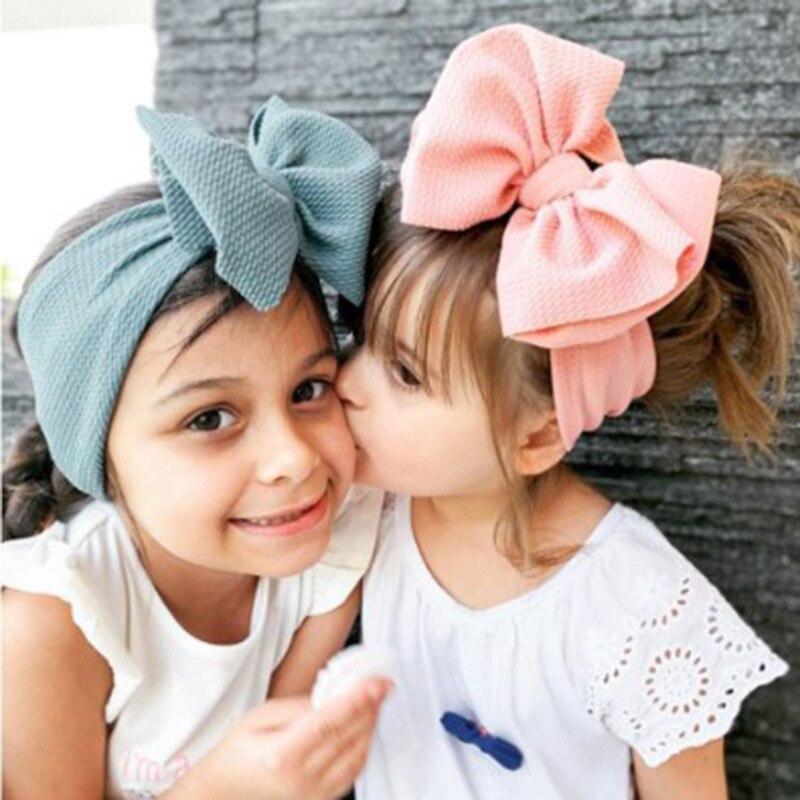 Over Sized Infant Fabric Bow Headband Newborn Toddler Adjustable Baby Girl Boy Headwear Solid Bowknot Soft Turban Knot Hairband