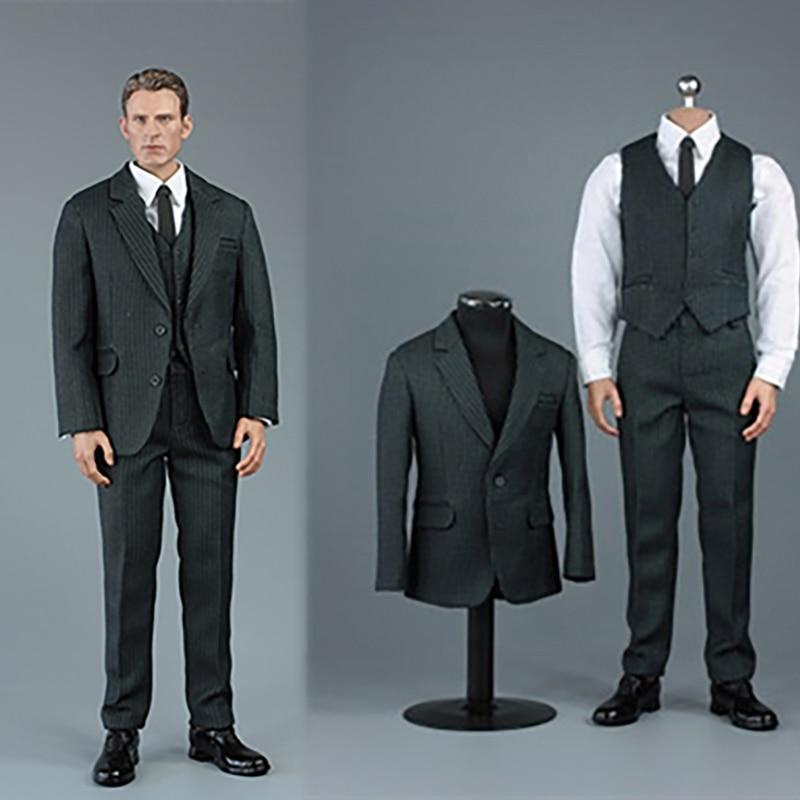 VORTOYS V1015 A/B/C 1/6 Male Suit Clothes Vest Tie Belt Leather Shoes Set for 12'' Muscle Man Action Figure Body In Stock