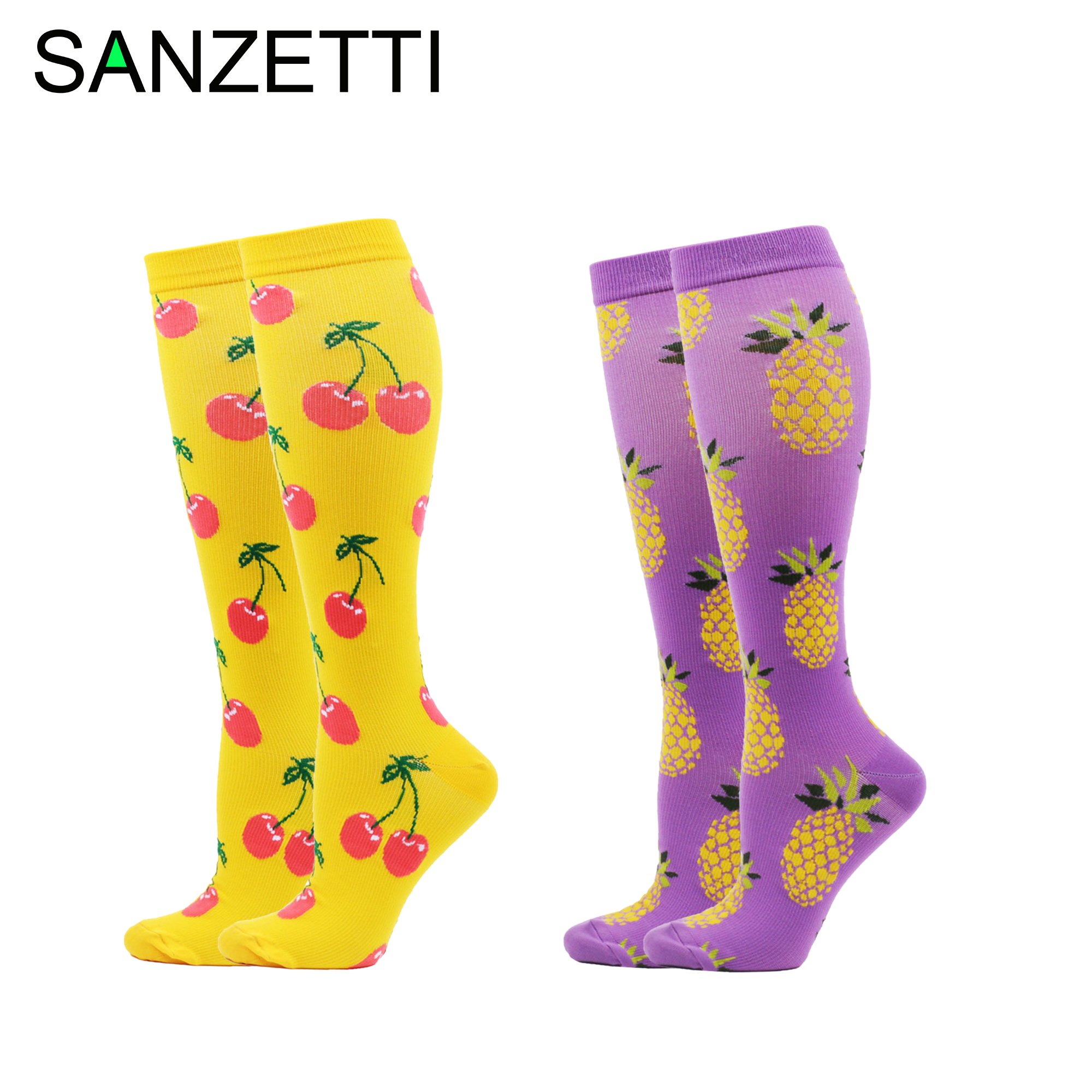 SANZETTI 2 Pairs Hot Women Leg Support Stretch Combed Cotton Compression Socks Cherry Below Knee Anti-Fatigue Long Happy Socks