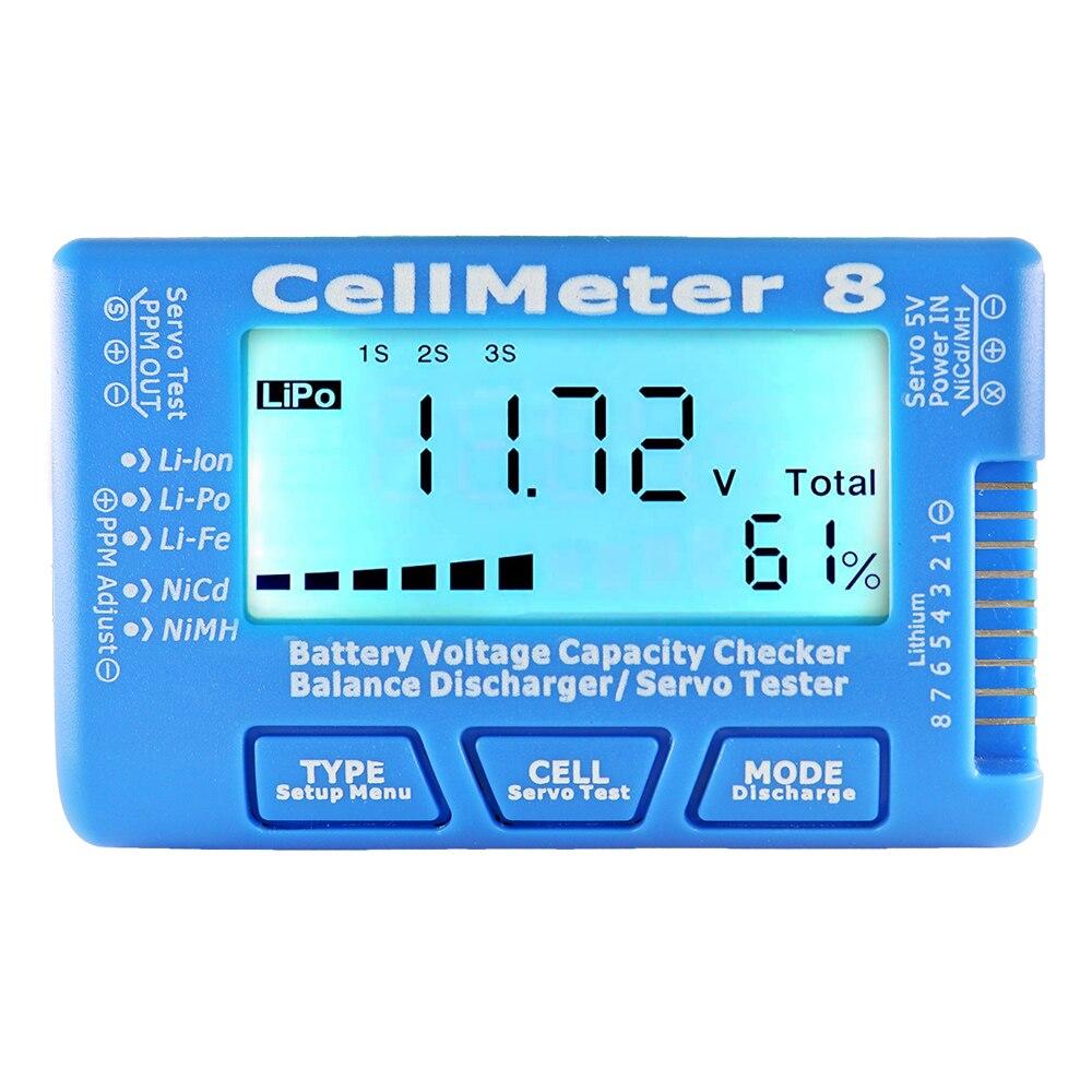 ЖК-цифровой измеритель емкости батареи, измеритель емкости батареи RC CellMeter8 2-8S 4-8S сервопривод LiPo Li-lon NiMH, тестер батареи RC CellMeter7