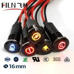16mm Waterproof Lamp FILN 12V LED Car Boat LED Warning Dashboard Signal Lights Instrument Pilot light