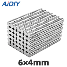 AI DIY 10/50/100Pcs N35 6x4mm Mini Small Eodymium Magnet Strong Powerful Force Round Rare Earth Magnets For Multi-Use Disc 6*4mm