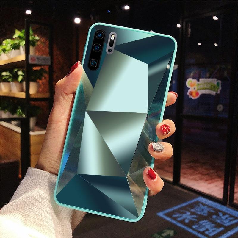 Diamond 3D Mirror Case For Samsung Galaxy A71 A51 A70 A50 A30 A21S A9 A7 A6 2018 S20 Ultra S10E S9 S8 Plus Note 10 Glitter Cover