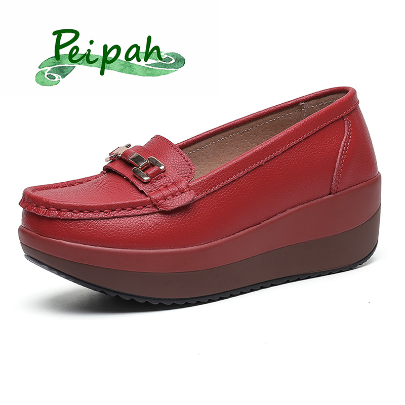 PEIPAH Women's Pumps Platform Loafers Genuine Leather Moccasins Shoes Woman Spring/Summer Female Slip On Casual Wedges Shoes