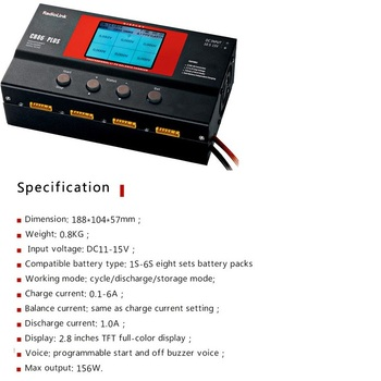 Radiolink Balance Charger CB86 Plus for 8pcs 2-6S Lipo Battery at one time Professional For RC Helicopter 2-6S Lipo Battery