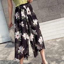 Summer Women Chiffon Pants High Waist Floral Print Ankle-length Pants Irregular Hem Elastic Waist Pants Plus Size 5xl(China)