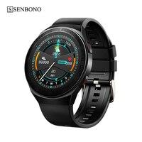 SENBONO-reloj inteligente MT3 para hombre y mujer, pulsera redonda con llamadas, Bluetooth, reproductor de música, rastreador de Fitness, deportivo, Para teléfono IOS y Android
