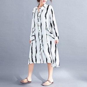 Женское льняное платье на пуговицах Supermiss, винтажное повседневное Хлопковое платье-рубашка в полоску, большие размеры, 2020