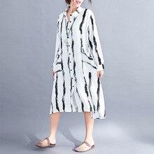 Supermiss Women Plus Size Dresses Linen Vintage Stripe Casual 2020 Cotton Button