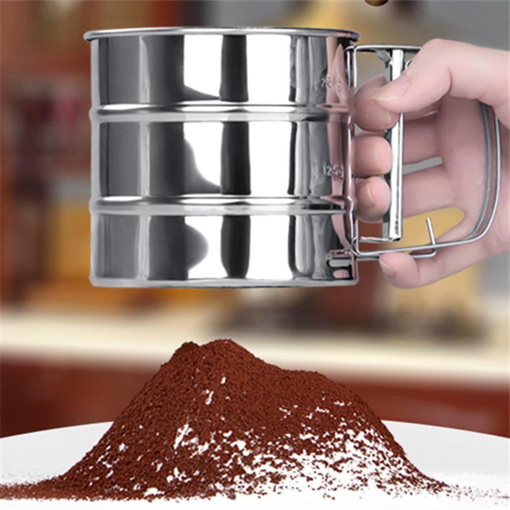 Hand-held Stainless Steel Powder Flour Sieve Cup Mesh Strainer Baking Cakes Kitchen Gadget Tool Flour Sugar Mesh Sieve Strainer
